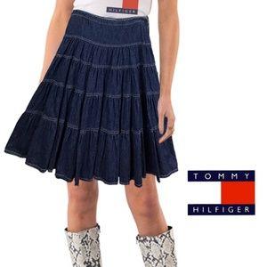 Tommy Hilfiger Blue Jean Tier Ruffle Skirt 10